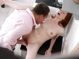 SExy redhead enjoys the full cock in both her tiny holes
