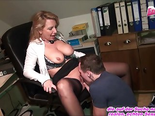 Youthfull Man must gobble cootchie and screw mature german office cougar
