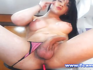 Asian Shemale Strokes her Hot Juicy Rod