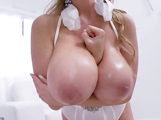 Gorgeous babe in white Kelly Madison loves making her pussy wet